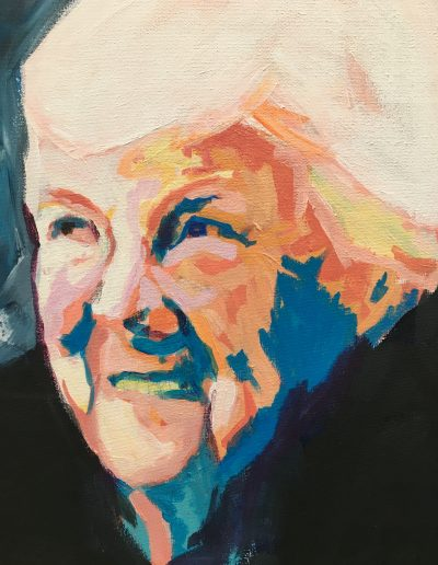 schilderij van lachende oma