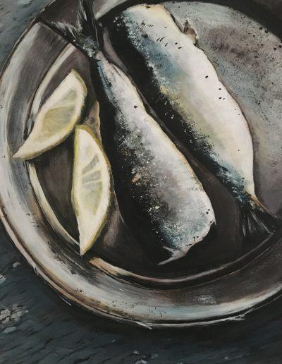 schilderij van citroen en vis op een bordje