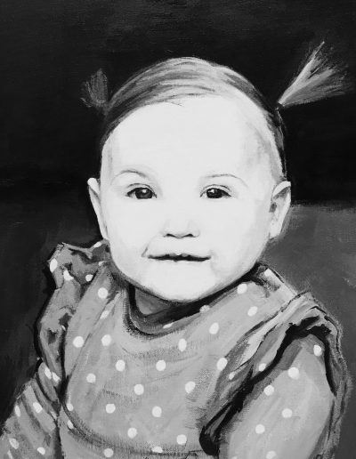 schilderij van lachende baby